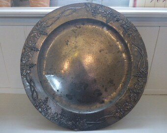 Art Nouveau Charger Plate Arts and Crafts Hand Finished Pewter / Lead