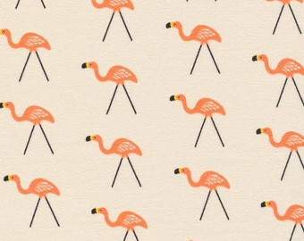 Lawn Ornament (Brown) - Flamingo - Sidewalk - Rae Hoekstra - Interlock Knit - Organic Cotton - Cloud 9 Fabrics - 1 Yard