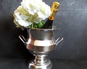 French Silver Plate Champagne Ice Bucket Wine Cooler Vintage Barware. Champagne cooler Besserat de Bellefon