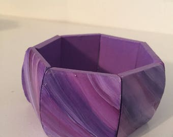 Purple Marble-look Wood Bangle Bracelet  Hand Painted Wood Bracelet Jewelry Accessories