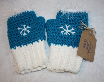 Hand Crocheted Fingerless Snowflake Gloves     FREE SHIPPING