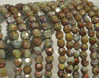 4MM Coral with Heavy Picasso Mottling Glass Faceted Beads