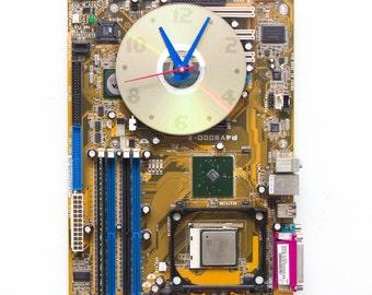 Geeky Wall clock - recycled Computer clock - yellow circuit board clock - ready to ship c3407