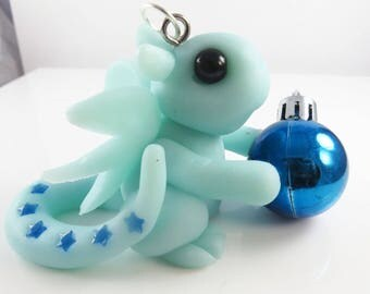 Polymer clay dragon christmas ornament
