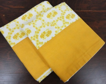 Pillow Case Set of 2 - Homemade from 1970's - Florals in Gold - Standard Size
