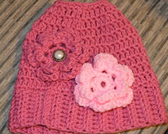 """Crocheted """"Messy Bun Beanie"""" with 2 Flowers"""