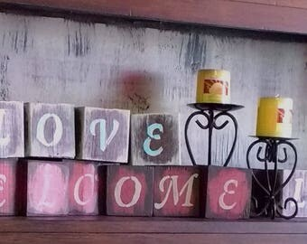 WELCOME Message blocks 3 1/2 x 3 1/2 inch wood blocks distressed primitive rustic country home decor
