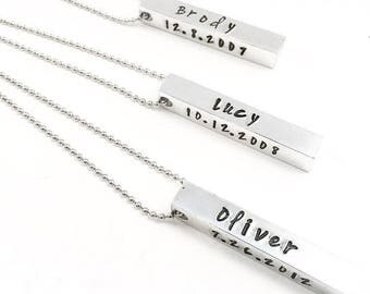 Personalized Graduation Gift. 4-sided Bar Necklace. Custom Stamped Bar Necklace