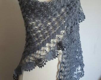 Gray shawl,  beaded shrug, beaded shawl, wedding shawl, gray shrug, gray wedding shawl