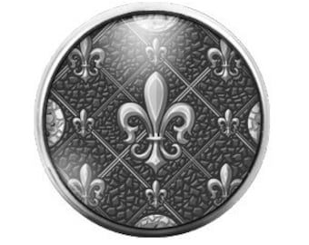 Fleur De Lis Black White - 18MM Glass Dome Candy Snap Charm GD0084