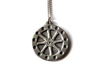Vintage Wheel of the Year Pewter Pendant