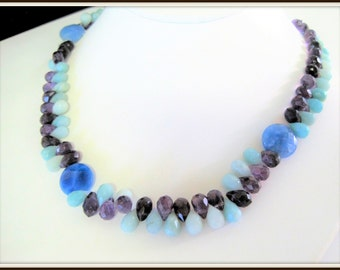 Sodalite Bead Necklace - Chalcedony and amethyst - Genuine Stone Beads -
