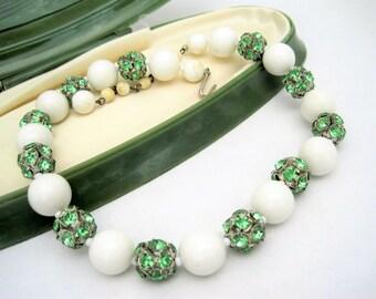 Green Rhinestone Choker -  White Bead Necklace - Vintage Choker