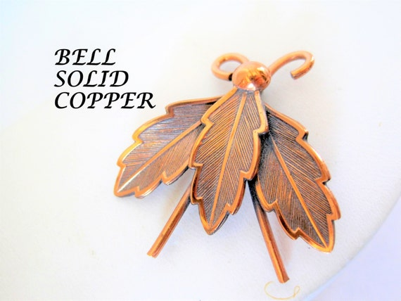 Copper Bug Brooch - Signed Bell Trading Post - Solid Copper  - Lovely Lapel Pin