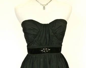20% OFF SALE 90's Vintage Prom Dress, Vintage Black Cocktail Dress, Strapless Dress, Little Black Dress