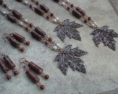 CUSTOM LISTING for Sierra, Copper Leaf Pendant Necklaces and Matching Earrings