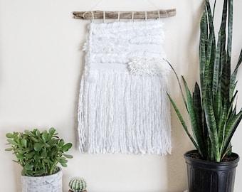 Bright White Woven Wall Hanging | Fiber Art | Wall Tapestry | Woven Wall Art | Wall Tapestry