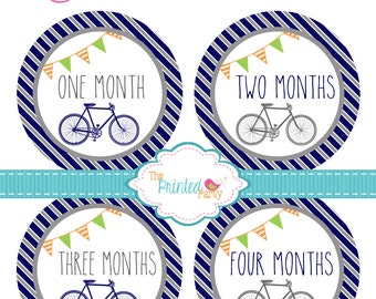 Monthly Baby Stickers - Baby Shower Gift and Photo Prop - Boy - vintage bicycle - 267b