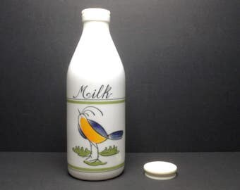 """Vintage Egizia Italy Hand Painted White Milk Glass Bottle WITH CAP ~ 10"""" Tall"""