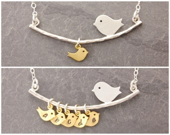 Single Mom Necklace, 1-6 kids, single mother, personalized jewelry, bird necklace, gifts for mom, mother necklace, new mom, baby, N1
