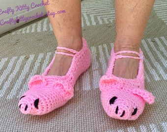 READY TO SHIP Piggy Slippers - Adult Women's / Teens - One Size Fits Most