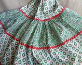 Christmas Tree Skirt Vintage Tiered Cotton Print with Rick Rack 1980s