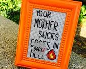 Mini Orange Studded Framed Cross Stitch - The Exorcist - Your Mother Sucks C*cks in Hell