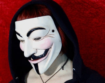Handcrafted Guy Fawkes/Anonymous Mask by Leifkicker. White/Bone Painted Casting Resin. Great for Cosplay or Wall Decoration.