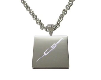 Silver Toned Etched Phlebotomist Hypodermic Needle Necklace
