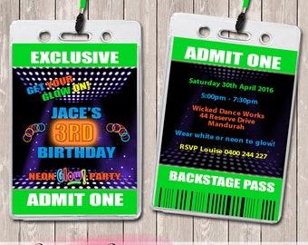 Neon Fluorescent Personalised VIP Lanyard Birthday Invitations x 10