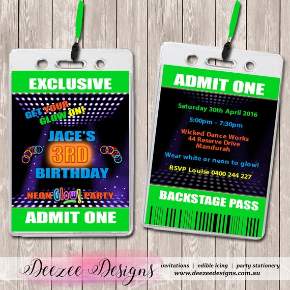 Neon fluorescent personalised vip lanyard birthday invitations x 10 il570xn filmwisefo