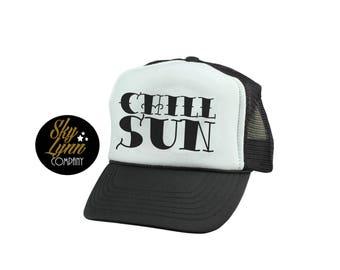 Snapback Chill Sun Printed Trucker Hat Black White Mesh