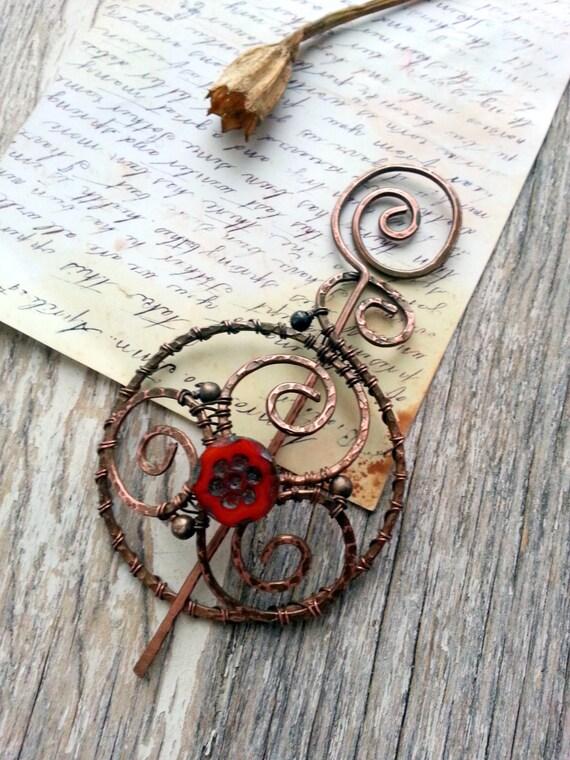 Shawl pin - Penannular  Wire Wrapped Copper Shawl Pin , scarf pin, sweater pin, cardigan clasp, bun pin, hair slide