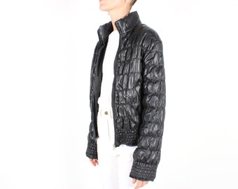 90s Quilted Althetic / Futuristic / Origami Puffy Black Bubble Bomber Jacket