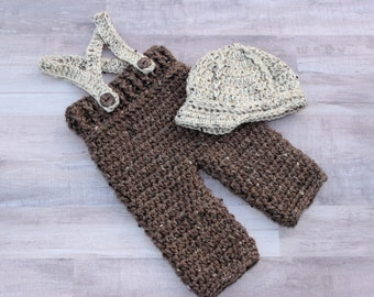 Newborn Baby Boy Overall Suspender Set, Newsboy Cap Outfit, Knitted / Crochet, Brown / Tan Tweed, Photo Prop