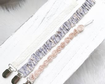 YOU CHOOSE White Lace, Purple/Gray Floral, Nude Mini Rose Pacifier Clips/ Newborn Gift/ Baby Girl Shower Gift/Flower Child/ nylon Headbands