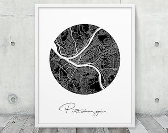 Pittsburgh Urban Map Print. Pittsburgh City Street Map Poster. Black White Pittsburgh Pennsylvania Map Print. Circle Wall Art. Printable Art