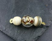 Mini lampwork bead set beige and ivory