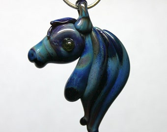 Glass Horse Head Necklace, Pendant Bead Lampwork, Equine Mustang Hand blown Amber Purple Mustang