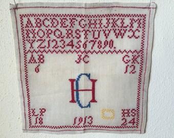 Antique French Alphabet Sampler, 1913  Hand Embroidered Cross Stitch Sampler, Monogram HC