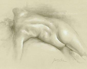 Original Nude Art, Female Nude Sketch, Erotic Female Sketch, Back Nudity Drawing, Woman Body Sketch, Fine Art Nudes, Girl Nudity Art, Gift