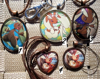 Lopunny Glass Pendant Necklace Charm made from Trading Cards