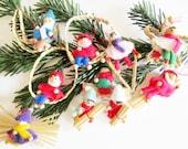 10 p.  Lovely Vintage Handmade Straw & Felt Christmas Dwarfs Christams Ornaments for hanging