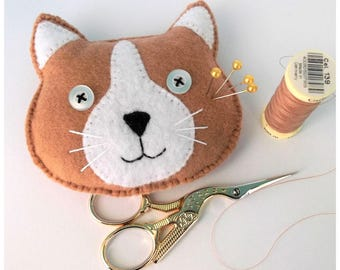 cat face pin cushion, novelty pin cushion, cat themed, cat lady, cat gifts, sewing gifts, sewing supplies, cat collector