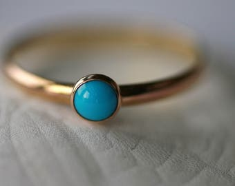 Tiny Sleeping Beauty Turquoise and 14K Gold Filled Stacking Ring