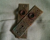 Two Vintage Ornate Brass Door Backplates
