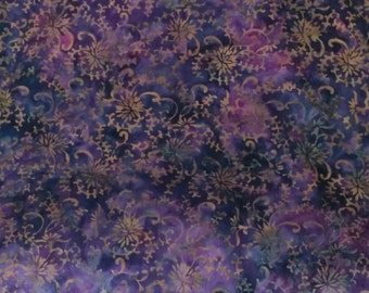 Batik Cotton, Purple Batik Cotton Print Fabric, Dark Purple Batik Cotton by the Yard