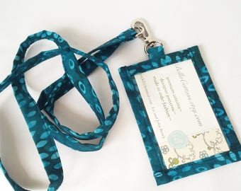 Lanyard ID Holder,  Peacock Blue  Batik Cotton Clip On ID Holder with Hidden Cash Stash and Matching Lanyard