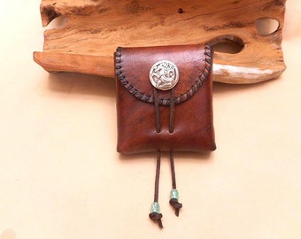 Pouch in Veg. Tanned Leather for Belt-Small- Celtic Dragon-Sale