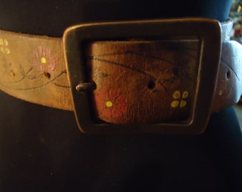 Vintage Boho Brown Distressed Leather Belt with Floral Hand Painted Detail